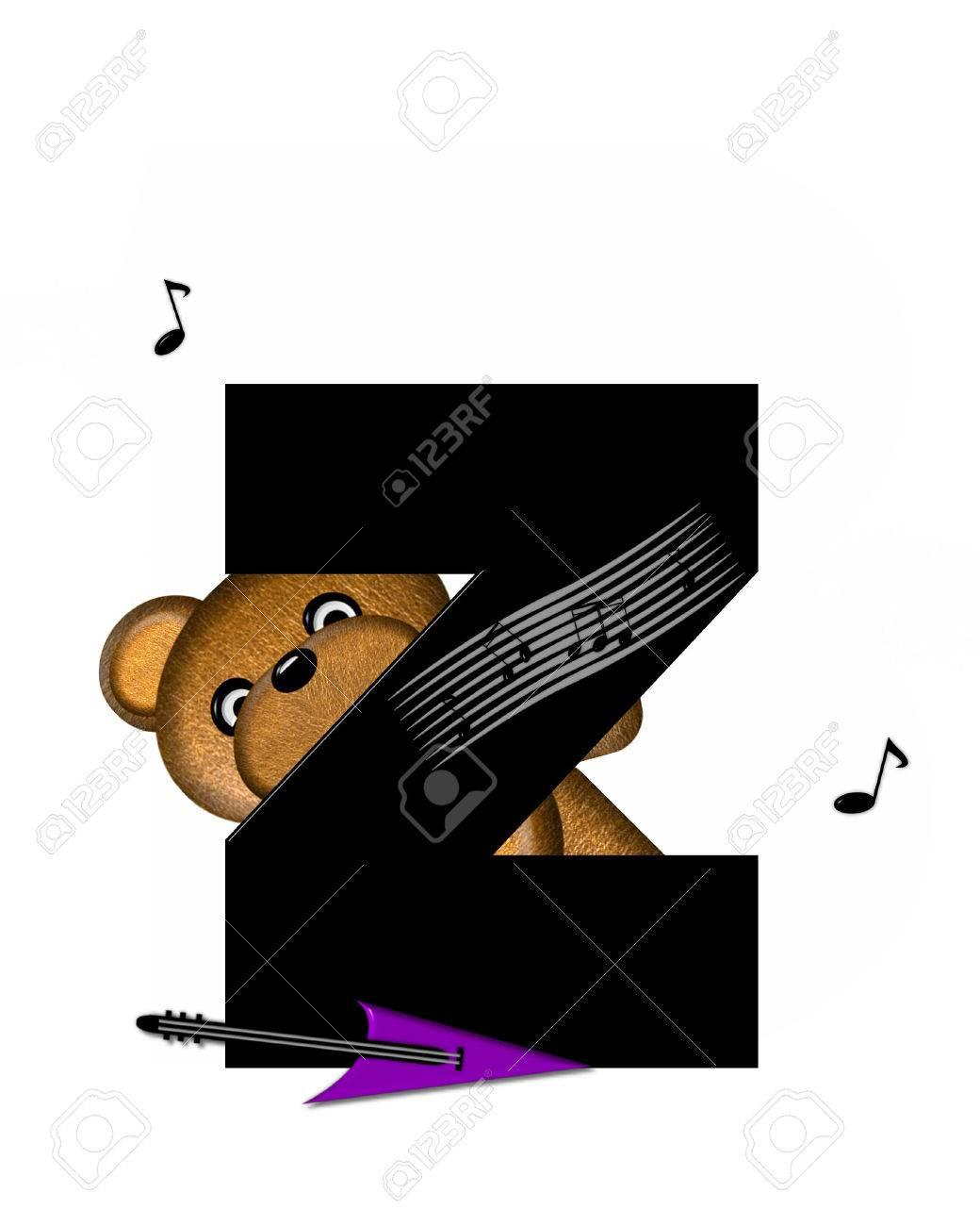 La Letra Z En El Conjunto De Alfabeto De Teddy Música De La Guitarra Es Negro Oso De Peluche Guitarra Eléctrica Y Notas Musicales Decorar Carta