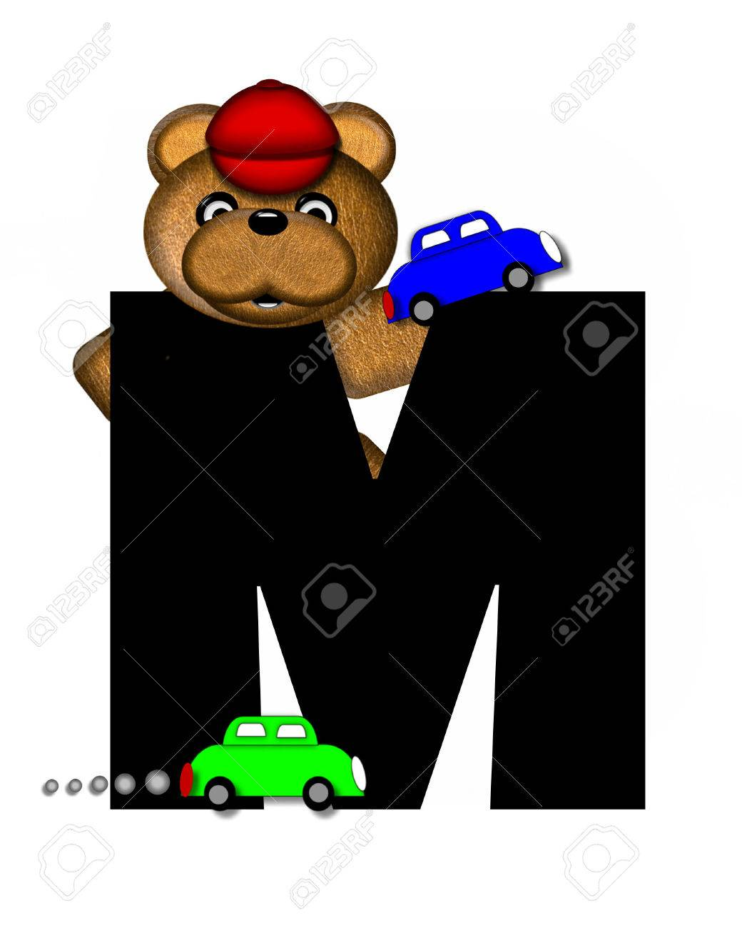 The Letter M In The Alphabet Set Teddy Playing Cars Is Black