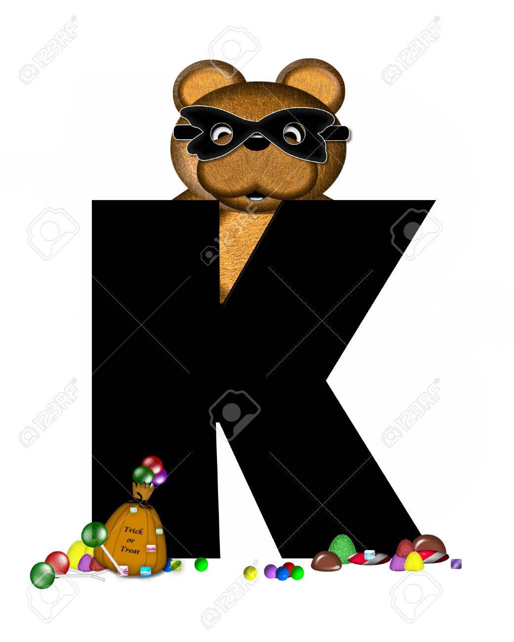 stock photo the letter k in the alphabet set teddy halloween treats is black and is decorated with cute brown teddy bear bear is masked and holding a