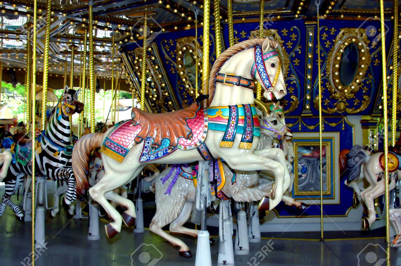 Merry Go Round Has Beautiful Animals On It This Carousel Horse Stock Photo Picture And Royalty Free Image Image 102848957