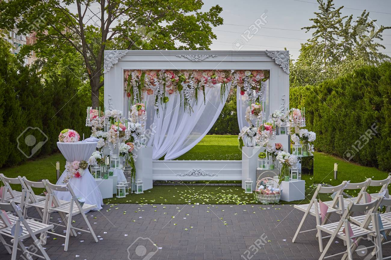 Wedding Decoration In Nature With Many Flowers