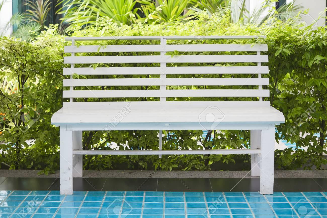 Brilliant White Bench On Tile Floor With Green Garden Background Uwap Interior Chair Design Uwaporg