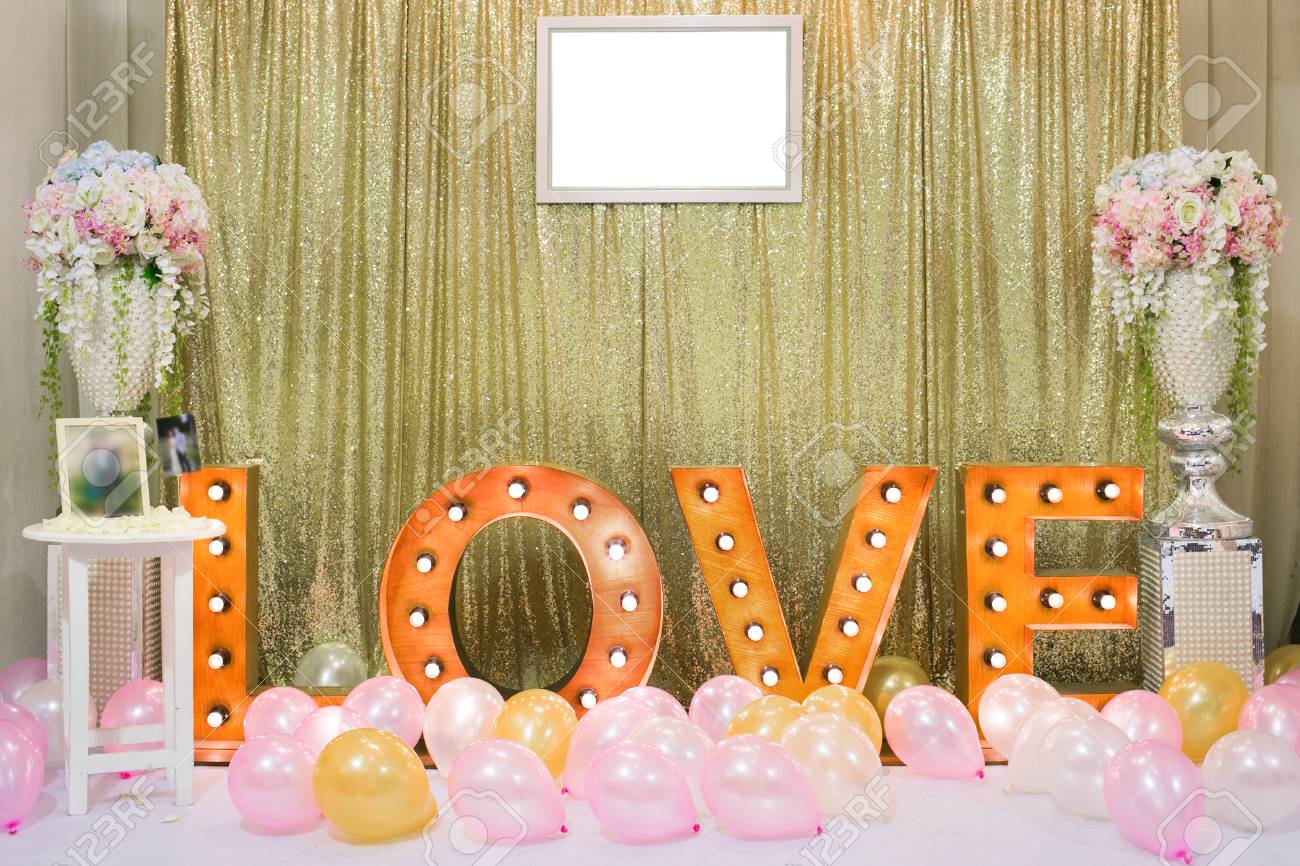 Wedding decoration background with word love light stand stock stock photo wedding decoration background with word love light stand junglespirit Gallery
