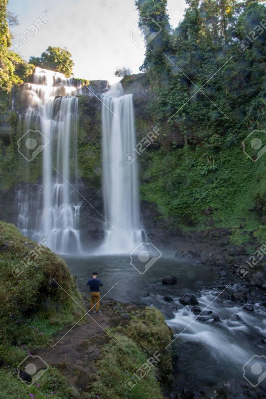 Song Khalia Waterfall In Khao Laem National Park Thailamd Stock Image