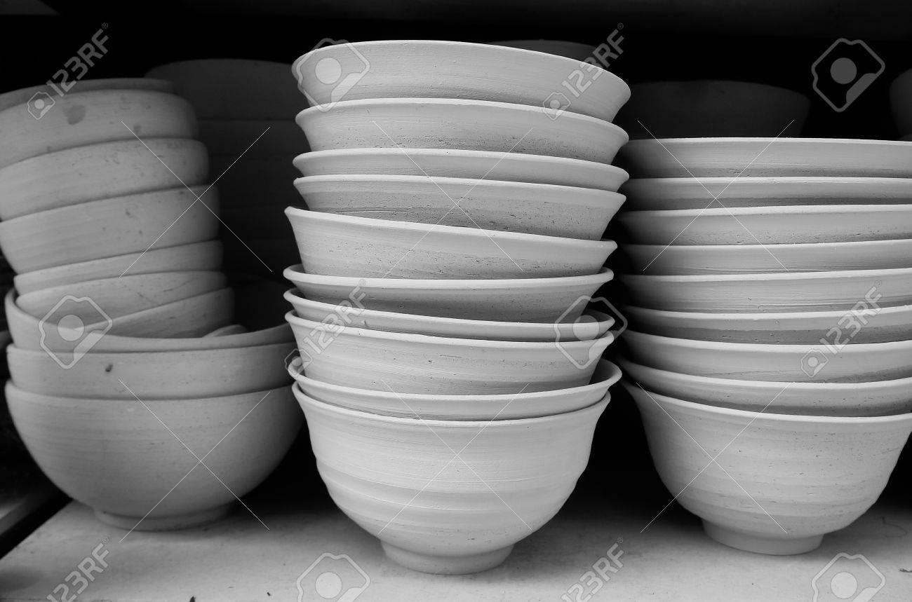 Clay Ceramics Bowl Wiht Day Light Close Up And Black And White Stock Photo Picture And Royalty Free Image Image 50027883