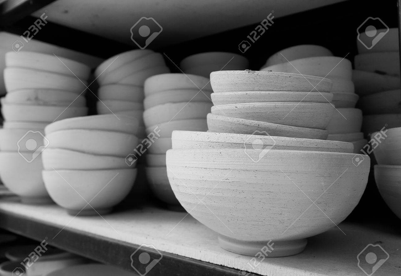 Clay Ceramics Bowl Wiht Day Light Close Up And Black And White Stock Photo Picture And Royalty Free Image Image 50027800