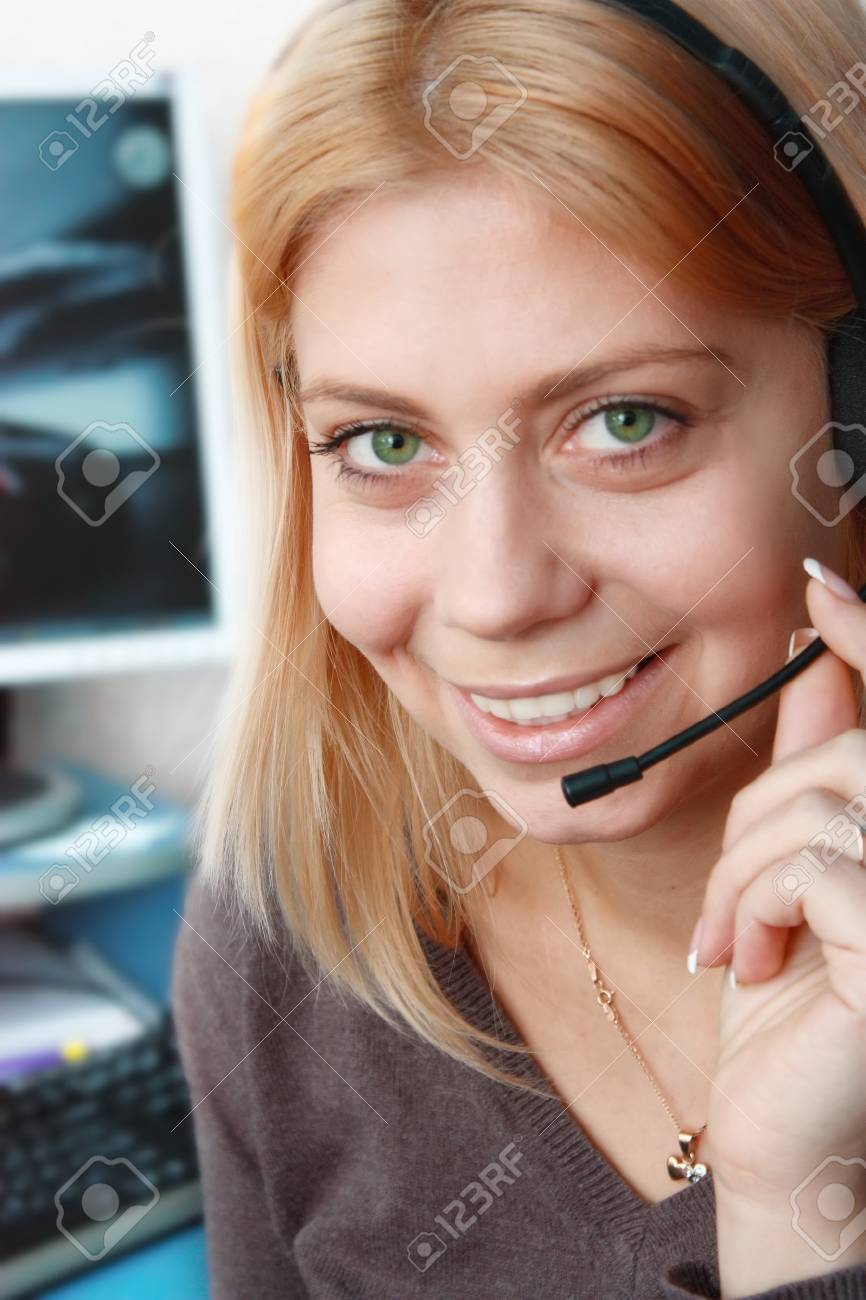 Bright Smile Call-center Operator Stock Photo - 4486870