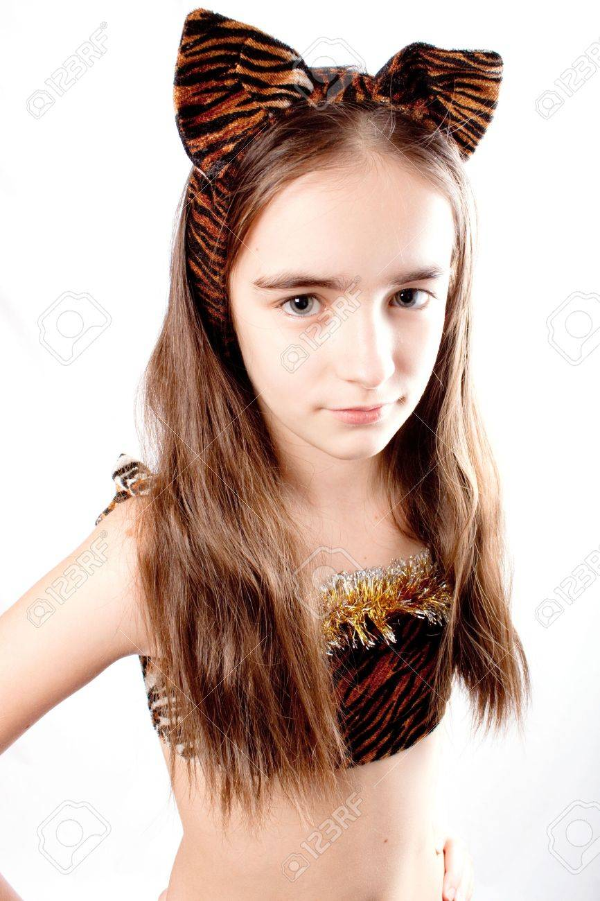 Cat girl. Tiger carnival costume. Isolated. Stock Photo - 6401631  sc 1 st  123RF.com & Cat Girl. Tiger Carnival Costume. Isolated. Stock Photo Picture And ...