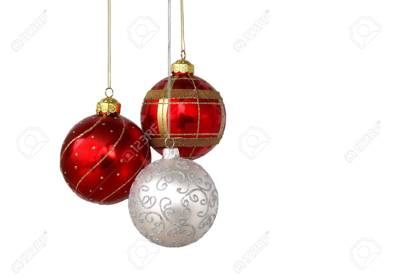 Christmas Tree Balls.Christmas Tree Ornaments Hanging Isolated On White Background
