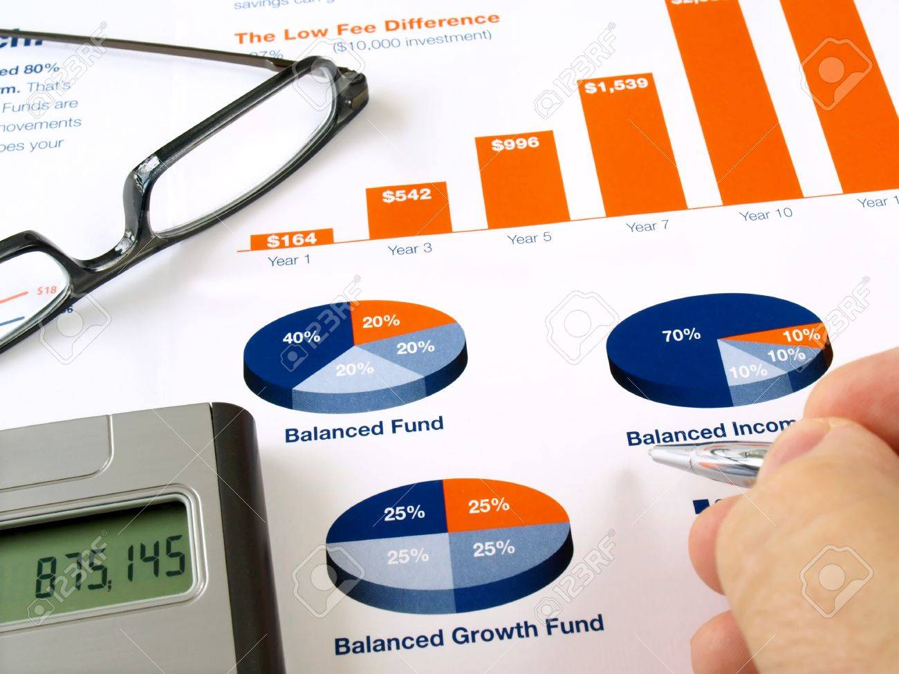Male hand with pen on the investment chart with calculator and glasses Stock Photo - 8791512