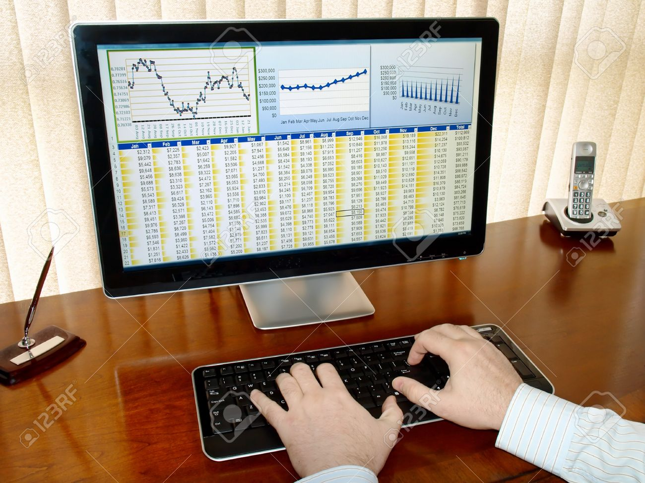 Male hands on the keyboard in front of computer screen with financial data and charts Stock Photo - 8894814