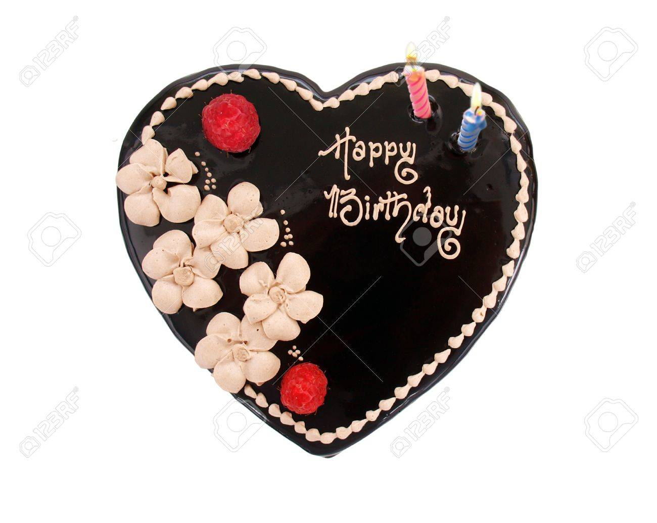 Heart Shaped Chocolate Birthday Cake On White Background Stock Photo