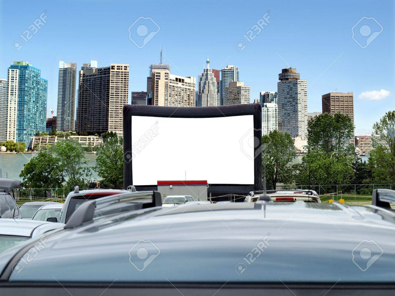 Blank Billboard with city skyline in background- space for your ad Stock Photo - 12577793