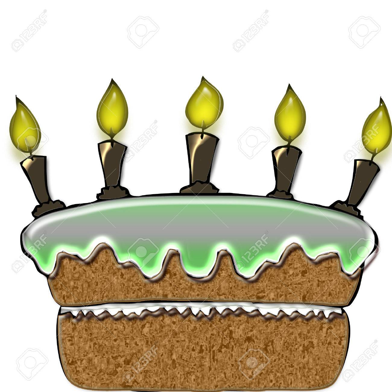A Big Birthday Cake With Pretty Icing And Candles Stock Vector