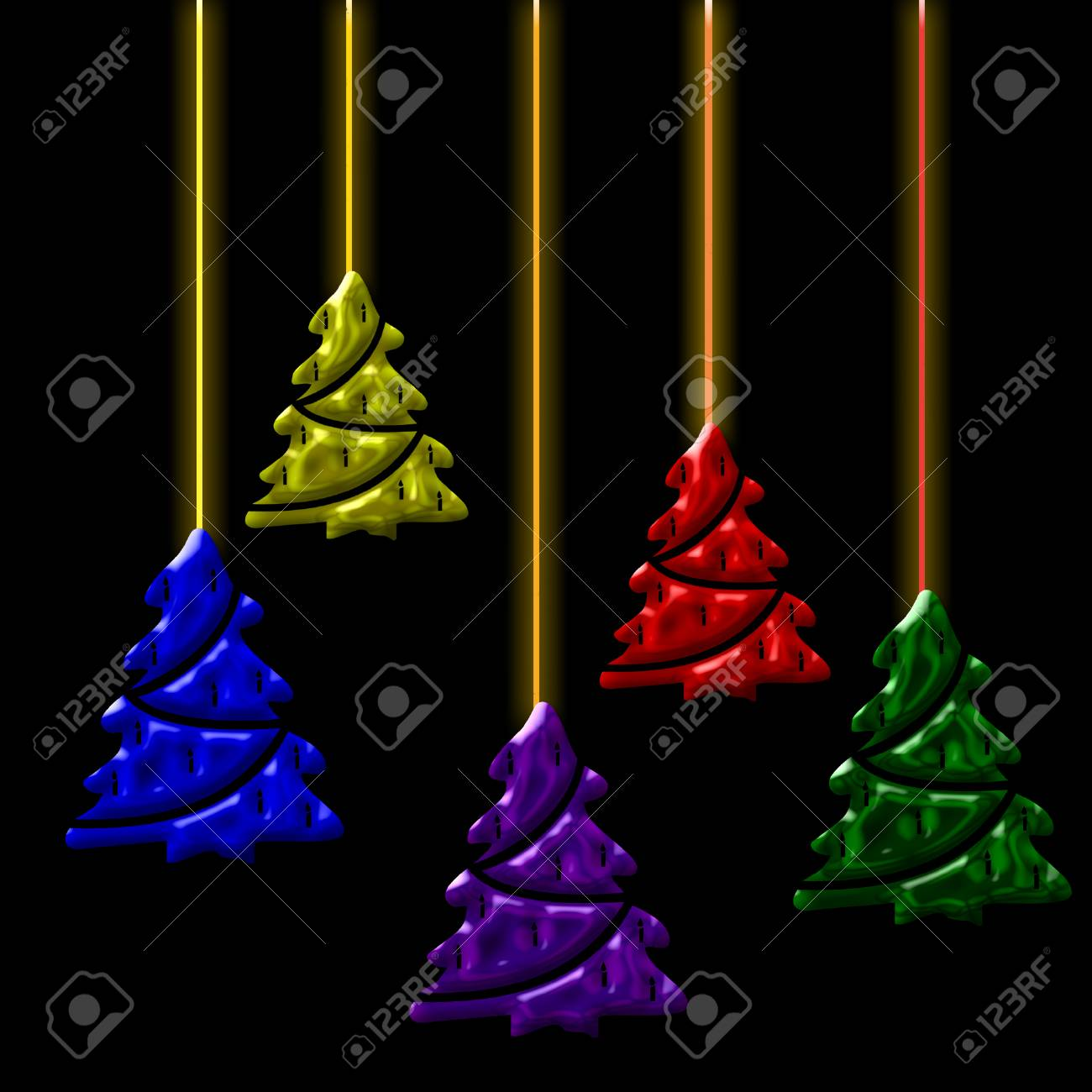 Cool Christmas Tree.Several Christmas Trees In Cool Colors Dangling From Strings