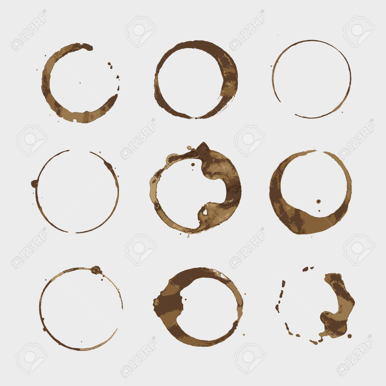 Vector coffee stains cup rings set. Isolated On White Background for Grunge Design - 120976074