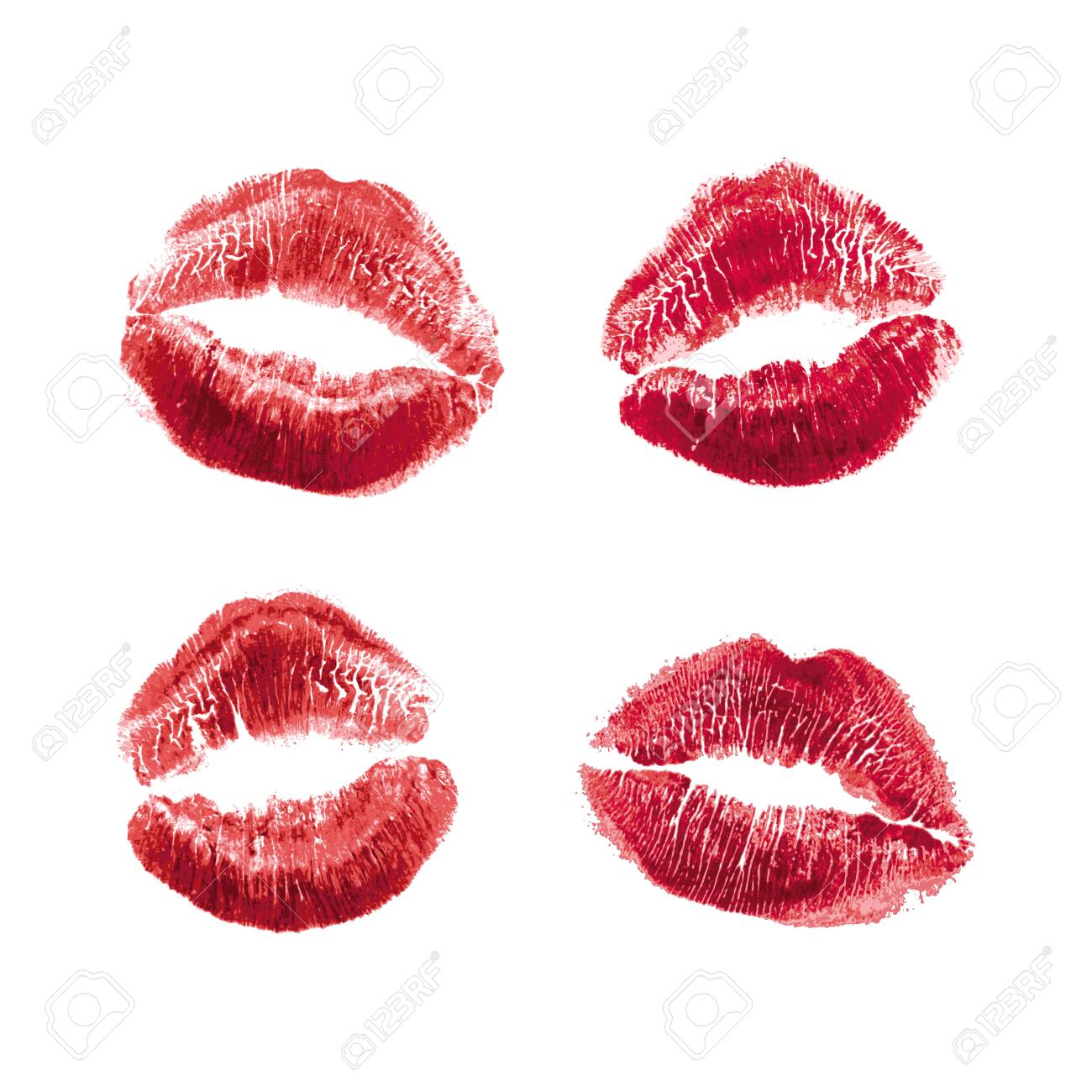 Vector set of realistic illustration womans girl red lipstick kiss mark. Isolated on white background. Valentines day icon, world kiss day. sign, symbol, clip art for design. - 120975851