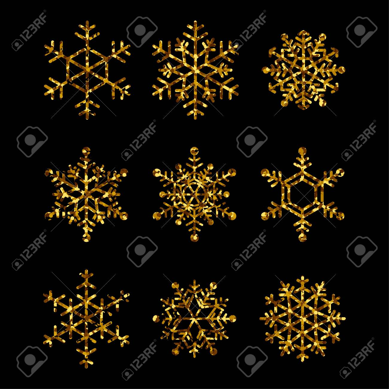 Collection of gold snowflakes. Vector isolated icons for winter holidays, christmas and new year illustrations - 131965561