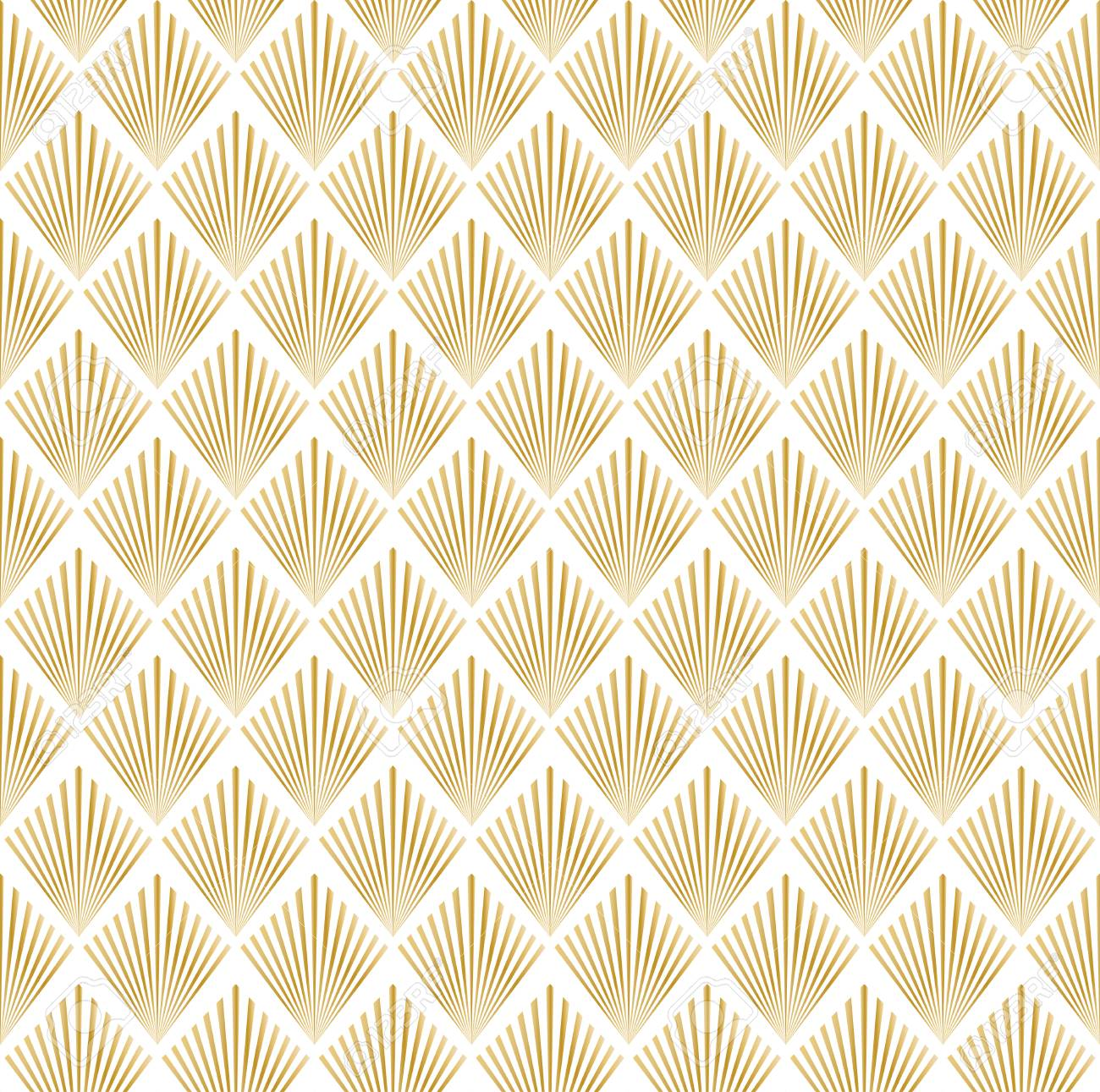 illustration of golden and white seamless pattern in art deco style - 55259885