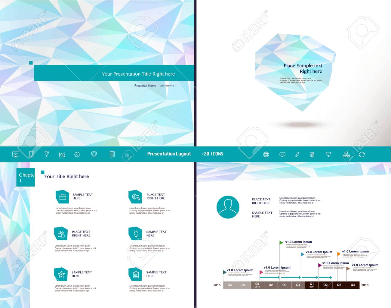set of presentation template and 20 icons, business infographic, Low Poly Business Presentation Template, Presentation templates