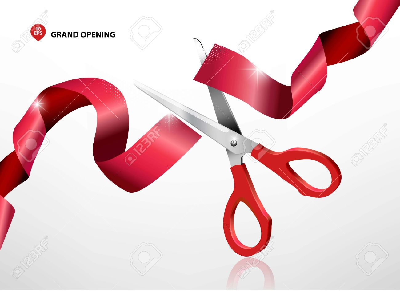 Grand opening with red ribbon and scissors - 57014414