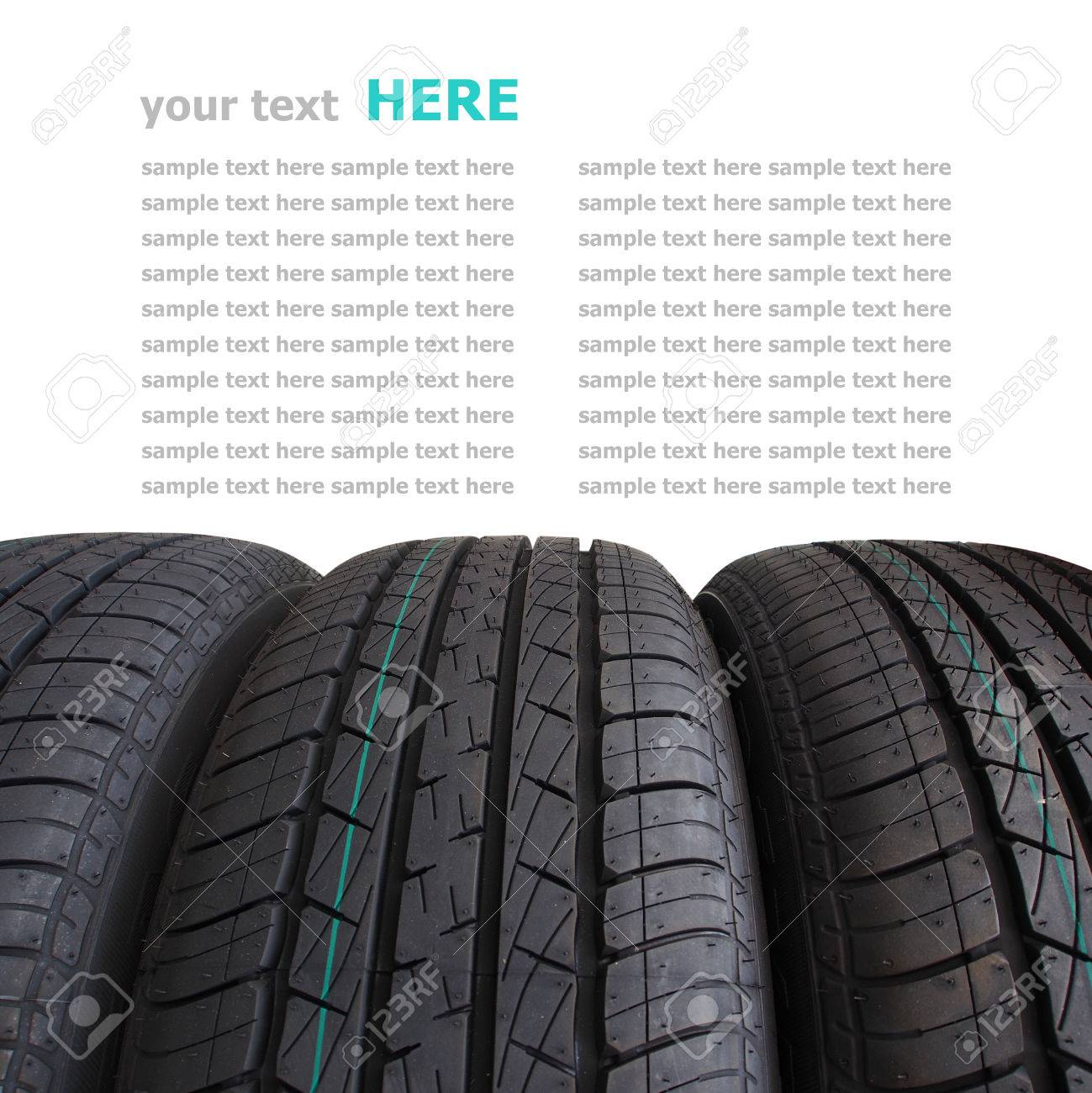 Tire stack selective focus isolated on white background Standard-Bild - 22967885