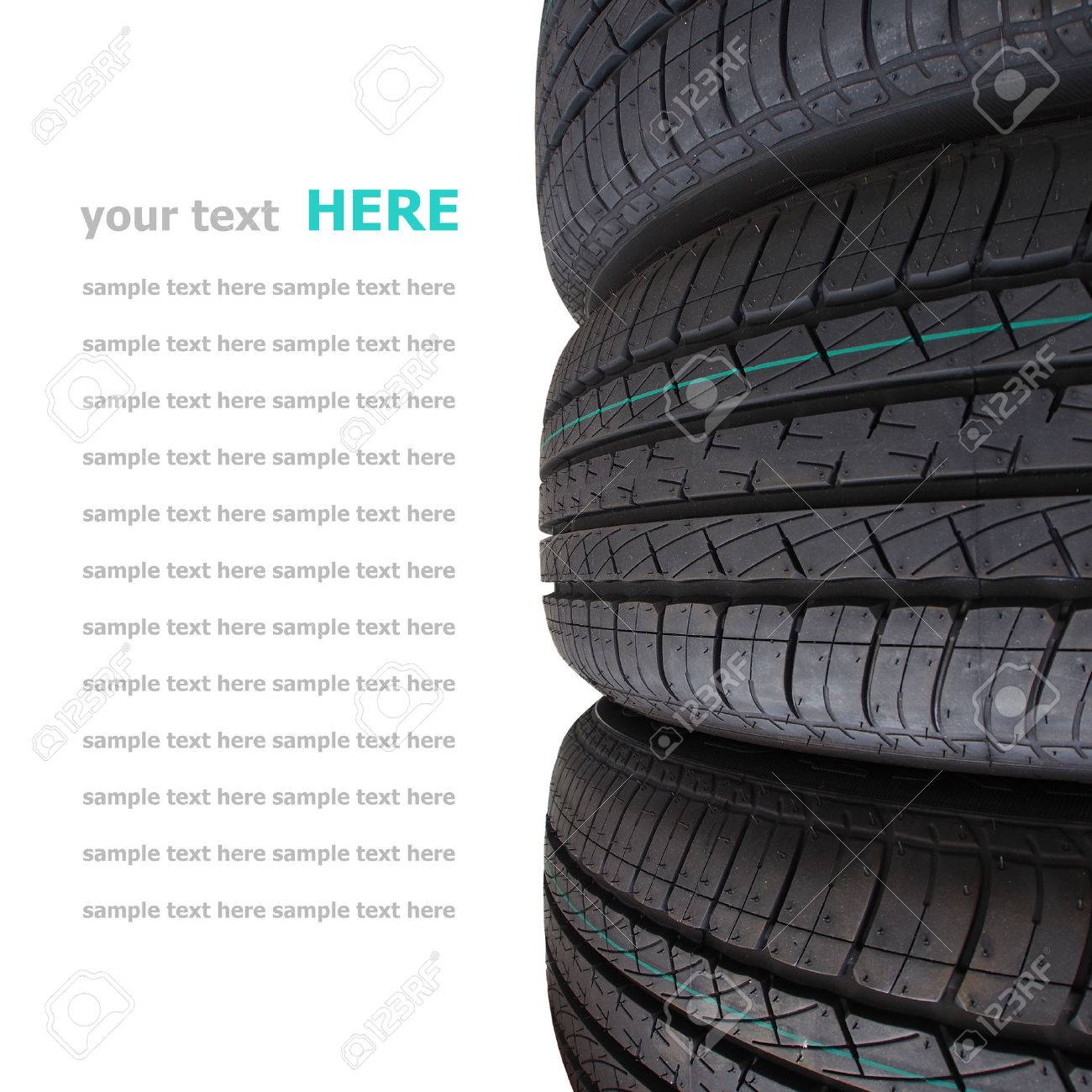 Tire stack selective focus isolated on white background Standard-Bild - 22967900