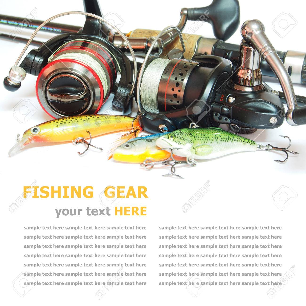 Fishing gear is isolated on a white background Standard-Bild - 26986286