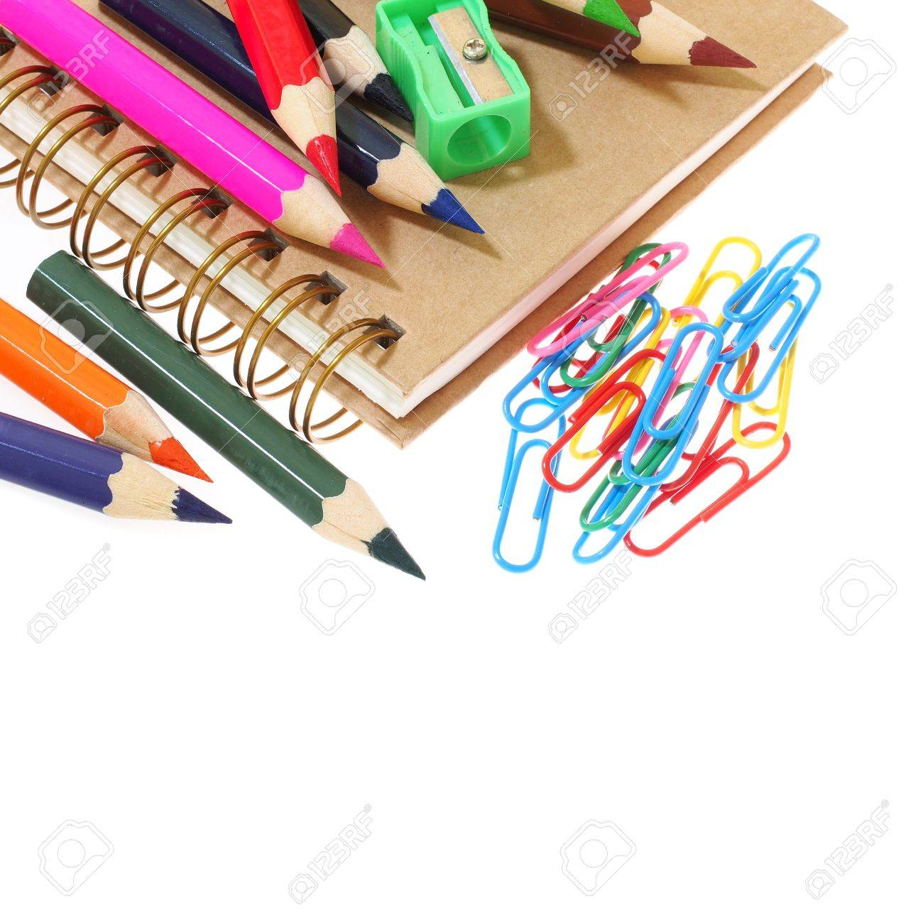 Group Of Stationery Tools Iolated On White Background Stock Photo   62184143