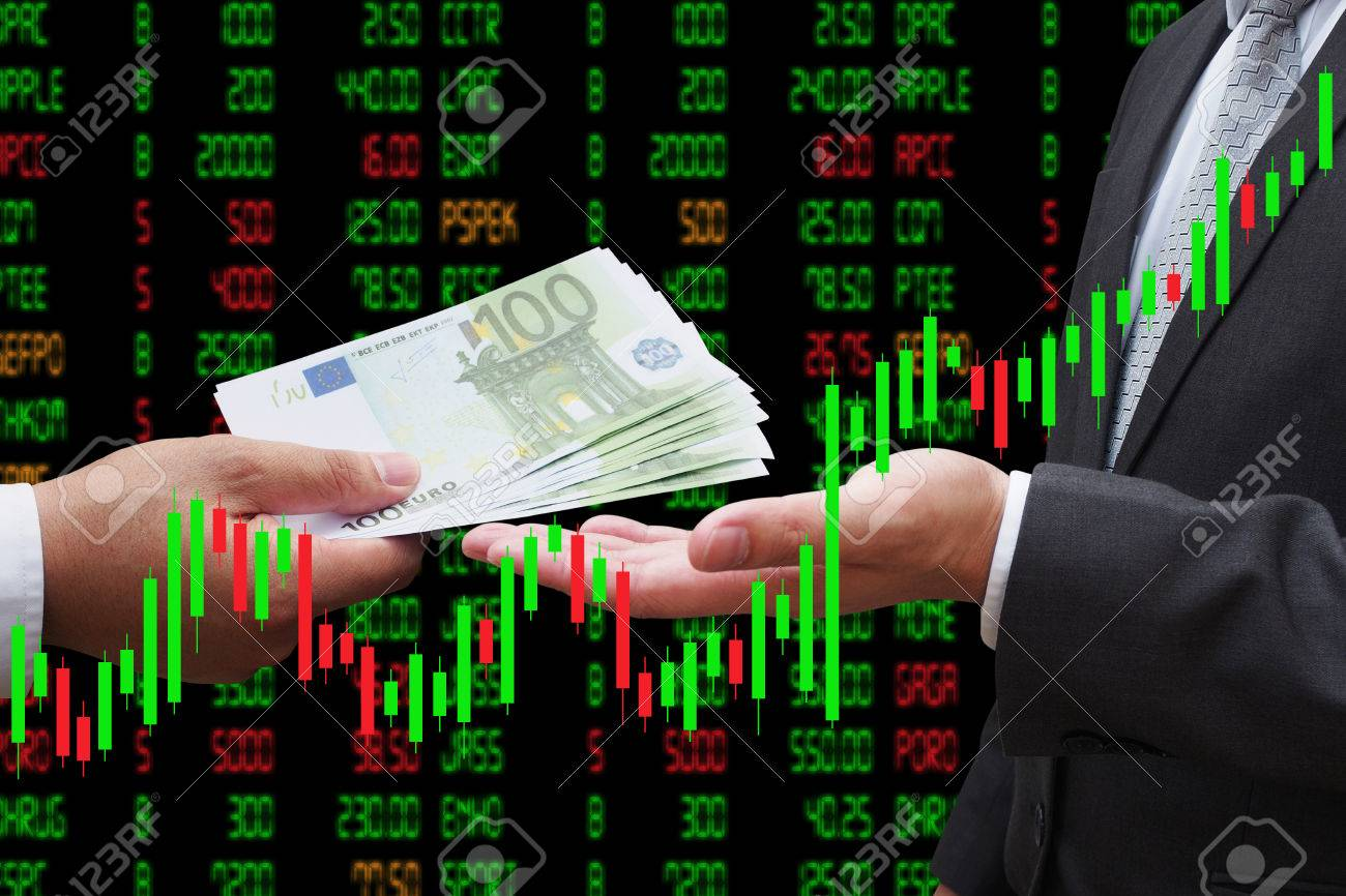 Investor giving euro money to his business partner, under Candlestick Chart, investment concept Standard-Bild - 66268658
