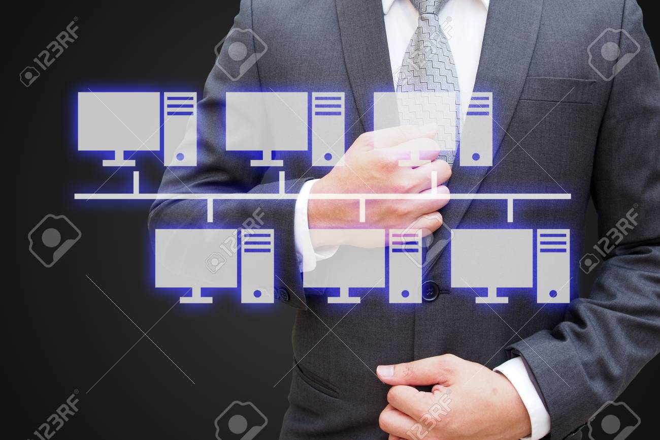 Businessman with virtual panel of virtual panel of bus topology