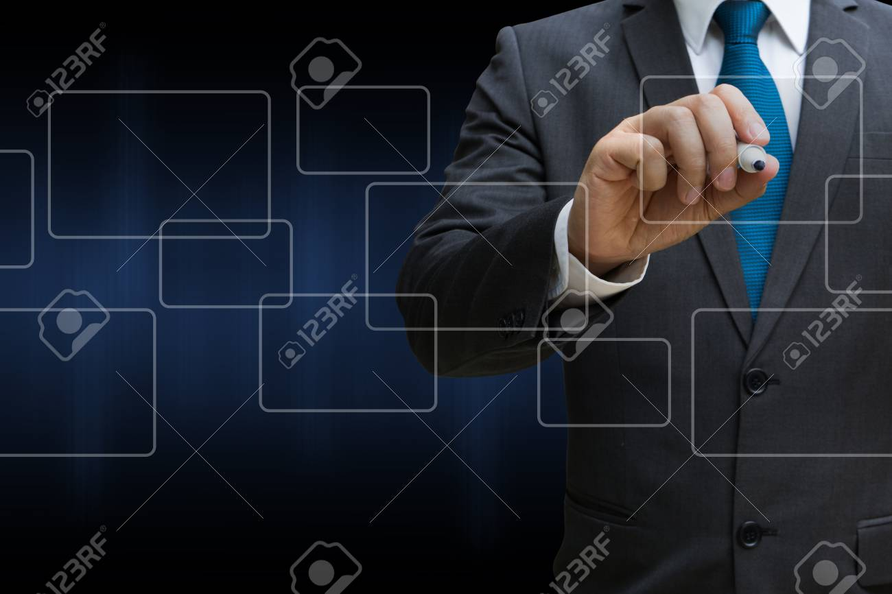 business man drawing the virtual panel of round rectangle interface, business concept Standard-Bild - 81179641
