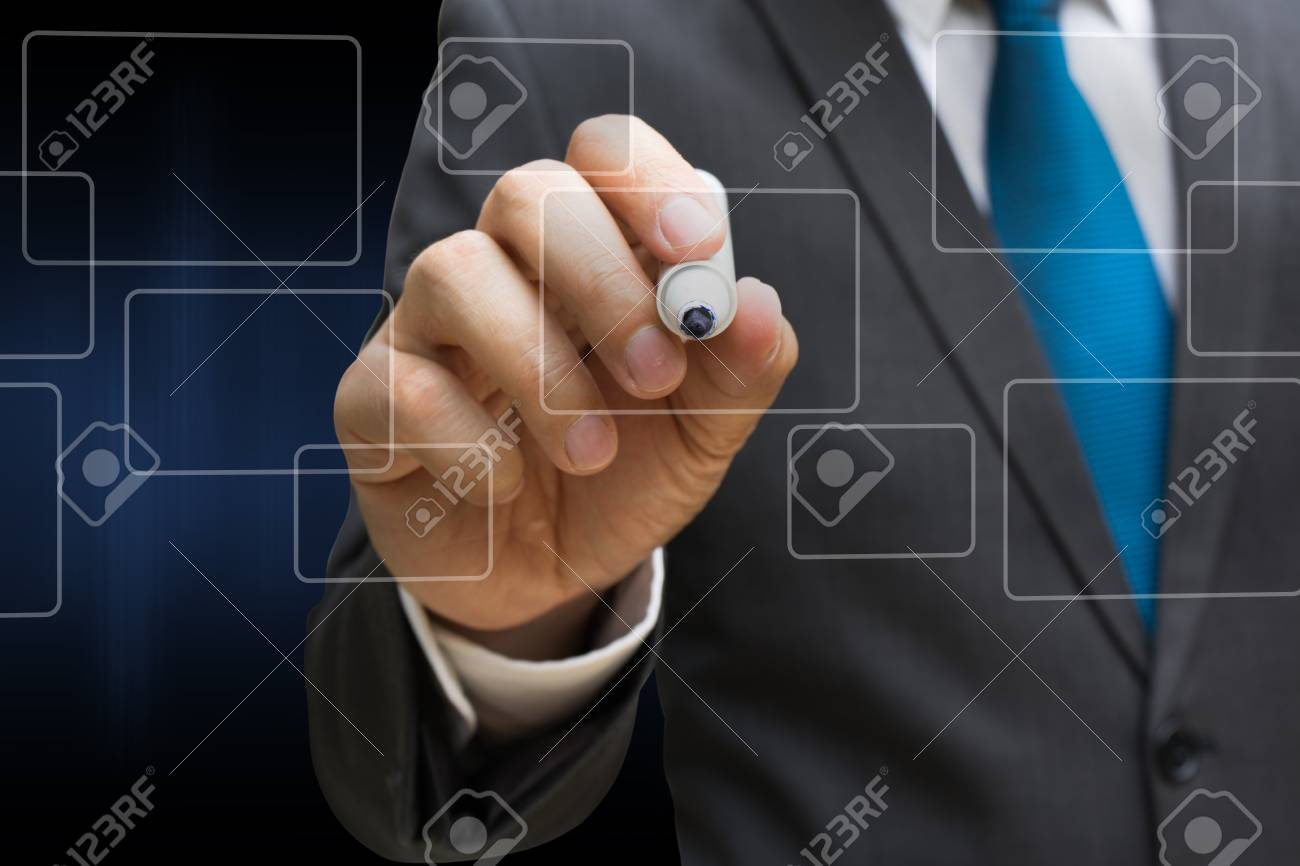business man drawing the virtual panel of round rectangle interface, business concept Standard-Bild - 81179642