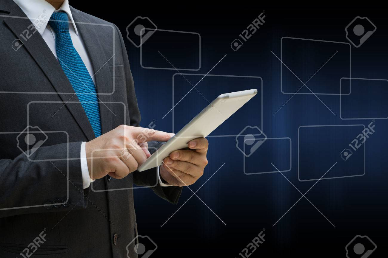 Business Man touching modern tablet with the virtual panel of round rectangle interface, business concept Standard-Bild - 81179643
