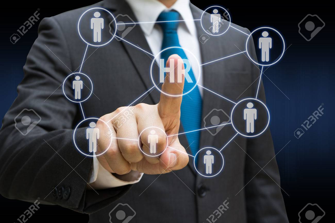 Businessman hand touching the virtual panel of professional officer , human resources concept Standard-Bild - 82041335