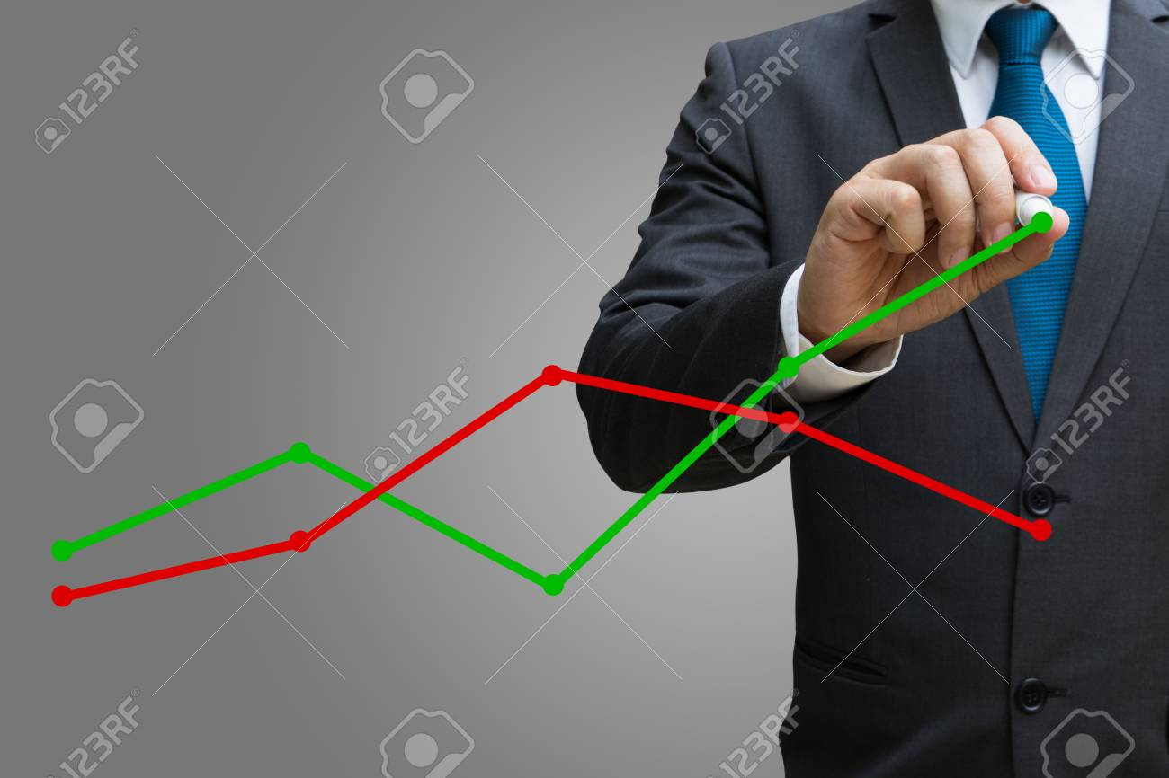 businessman drawing the financial line charts showing growing revenue on touch screen Standard-Bild - 82426437