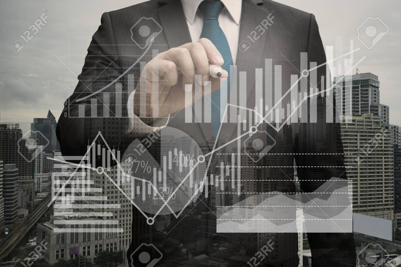 Double exposure of Businessman writing the virtual panel of pie chart and other chart , business concept Standard-Bild - 84764912