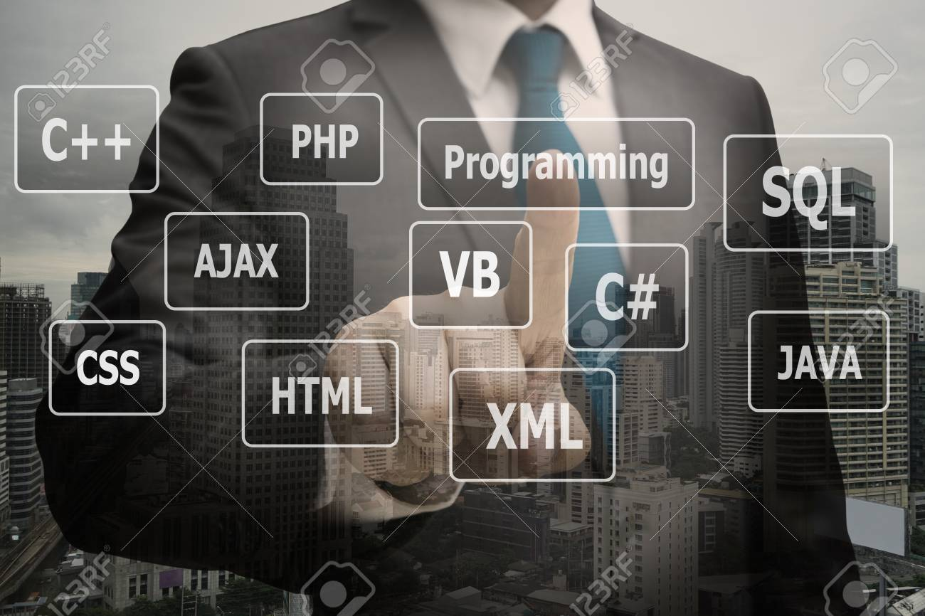 Double exposure businessman CEO hand touching  virtual panel of programming languages, Computer technology concept Standard-Bild - 89685026