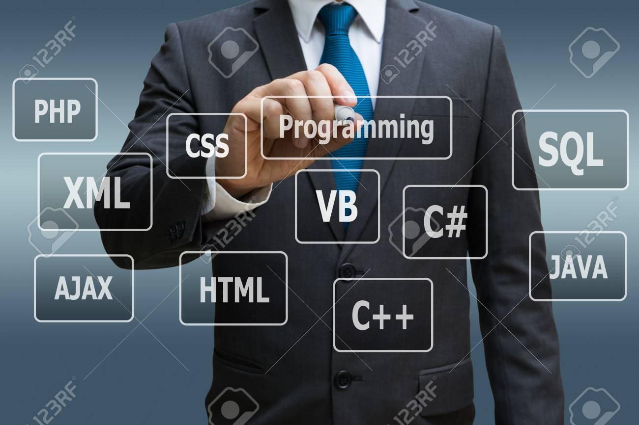 Businessman hand touching virtual panel of programming languages, Computer technology concept Standard-Bild - 89876159