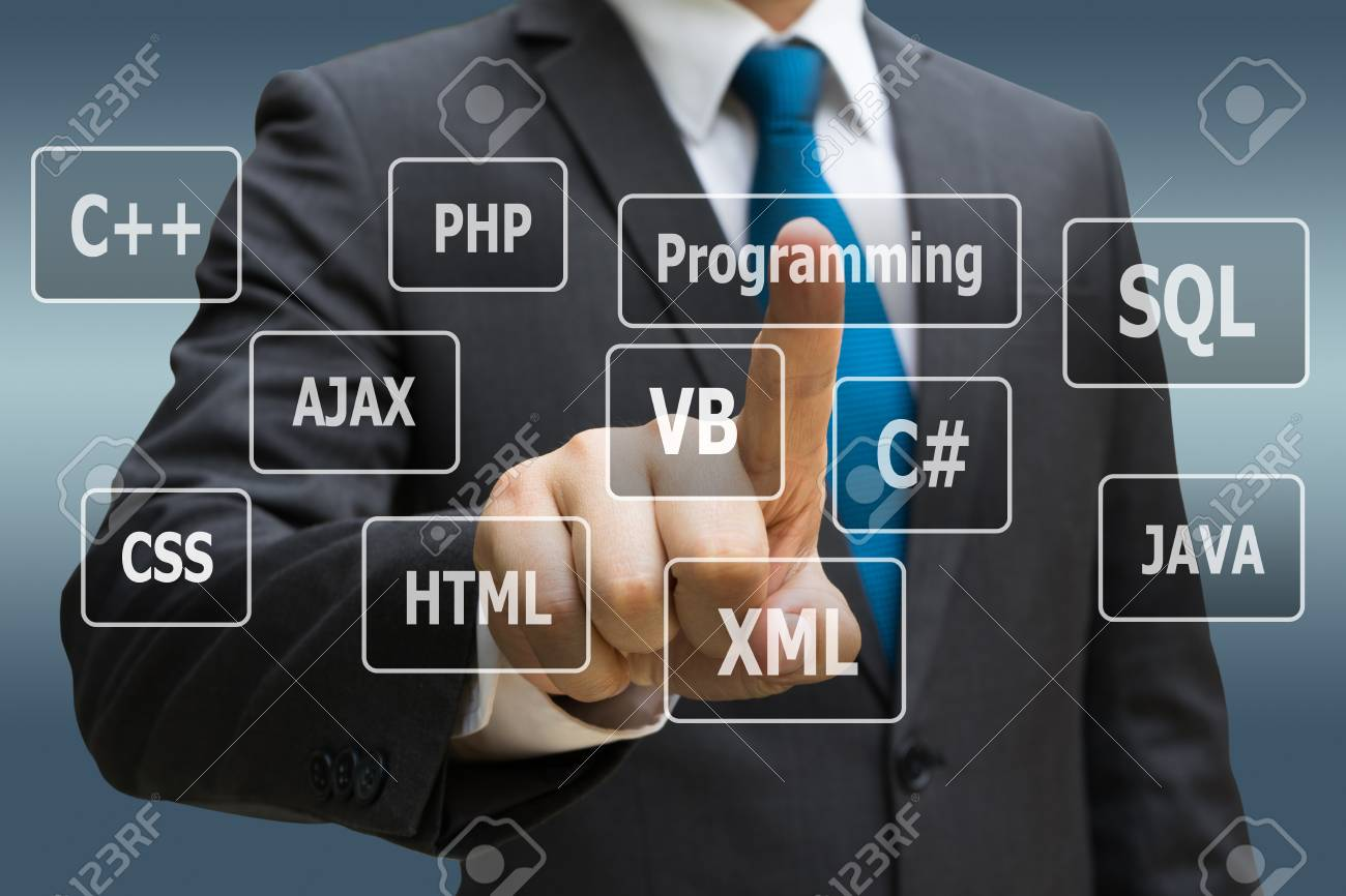 Businessman CEO hand touching  virtual panel of programming languages, Computer technology concept Standard-Bild - 90001775