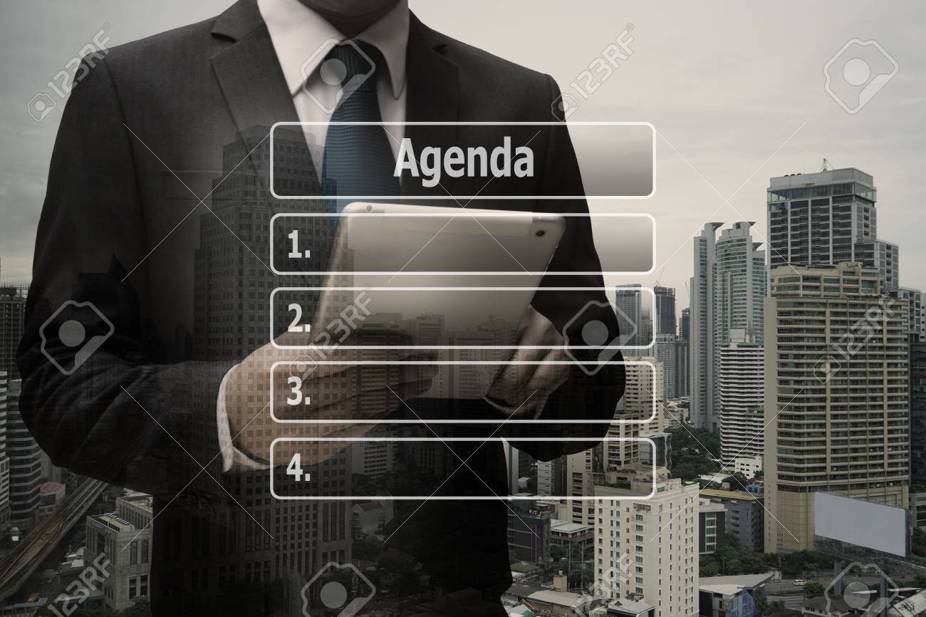 Double exposure businessman hand using digital tablet with virtual panel of agenda list Standard-Bild - 90283186