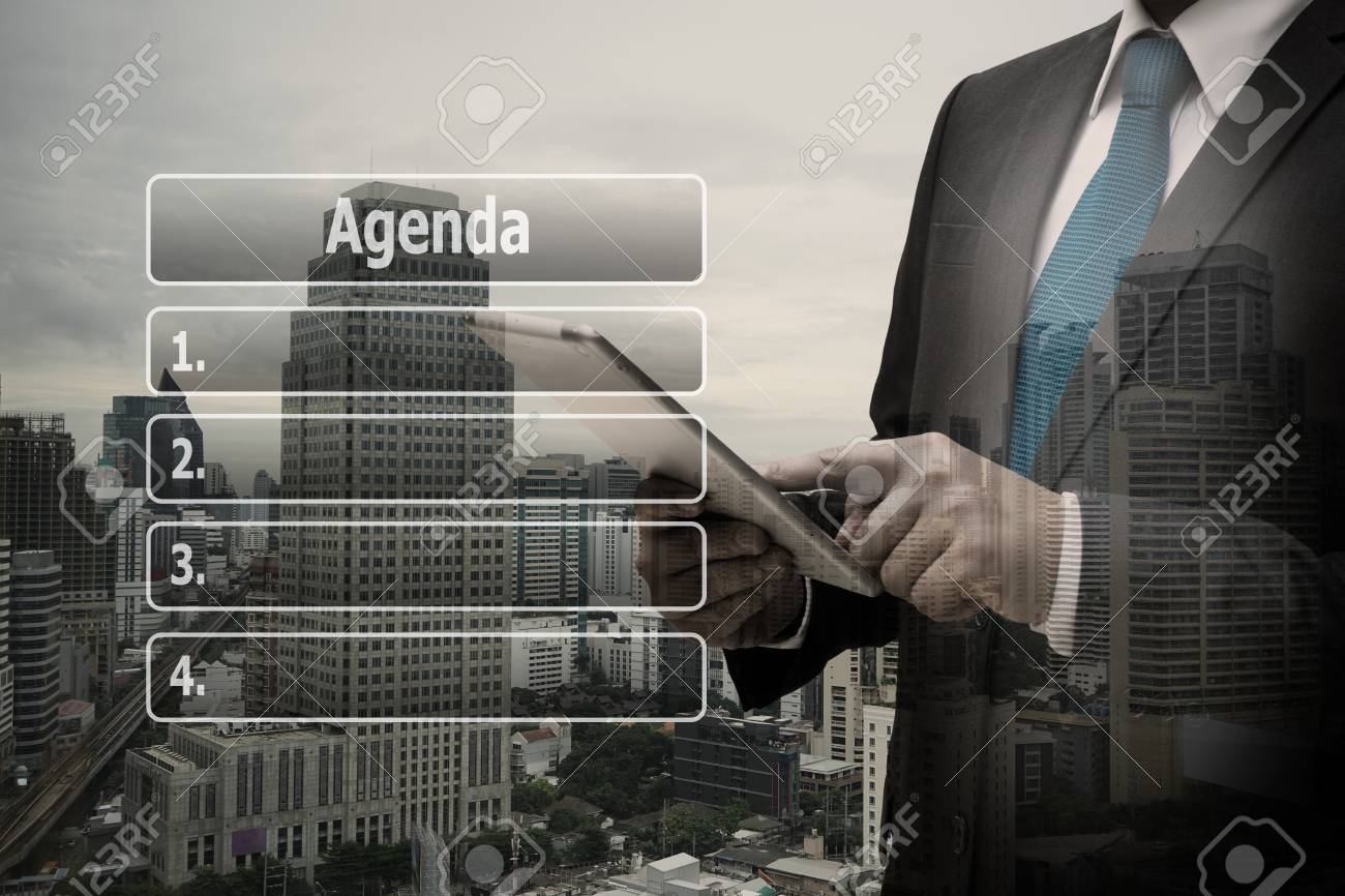 Double exposure businessman hand using digital tablet with virtual panel of agenda list Standard-Bild - 90309694