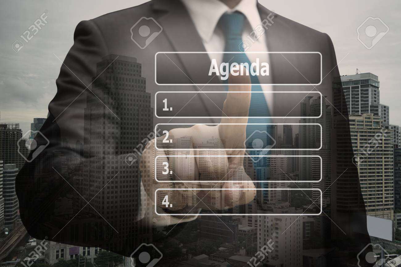 Double exposure businessman CEO hand touching  virtual panel of agenda list Standard-Bild - 90420817