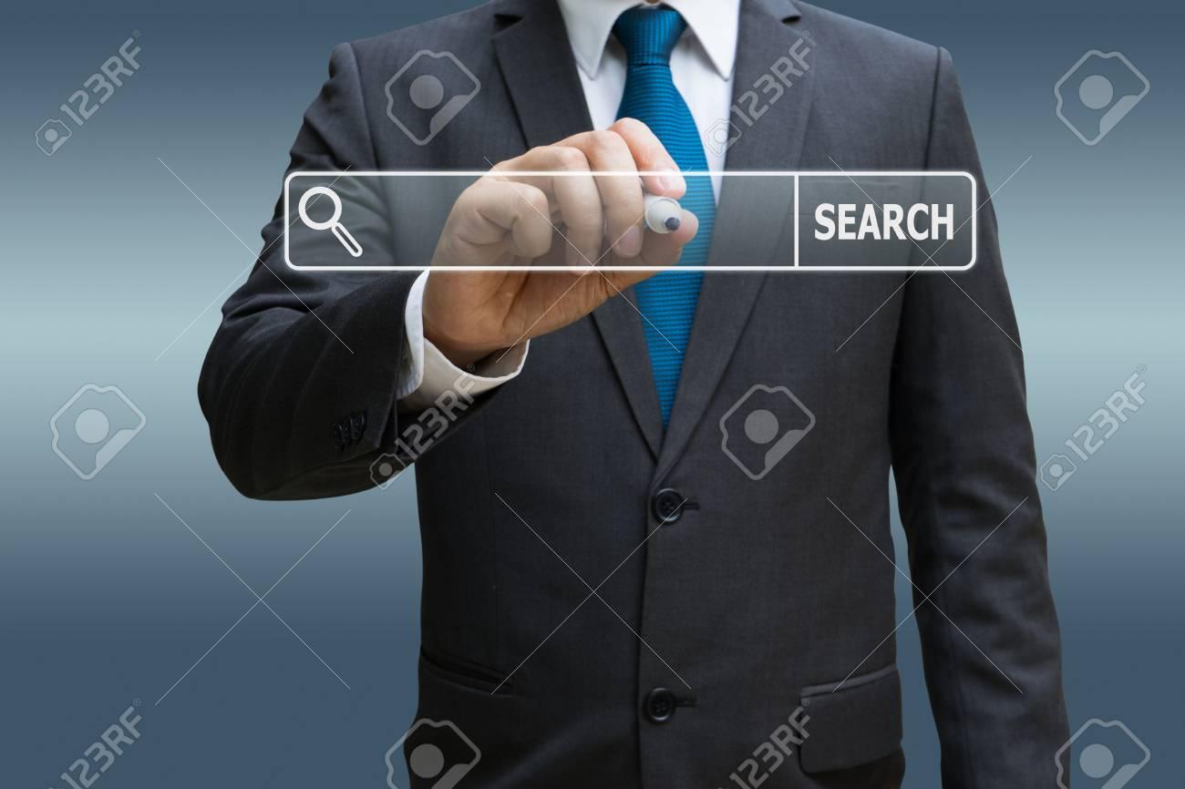 Businessman hand touching virtual panel of internet searching screen Standard-Bild - 91909211