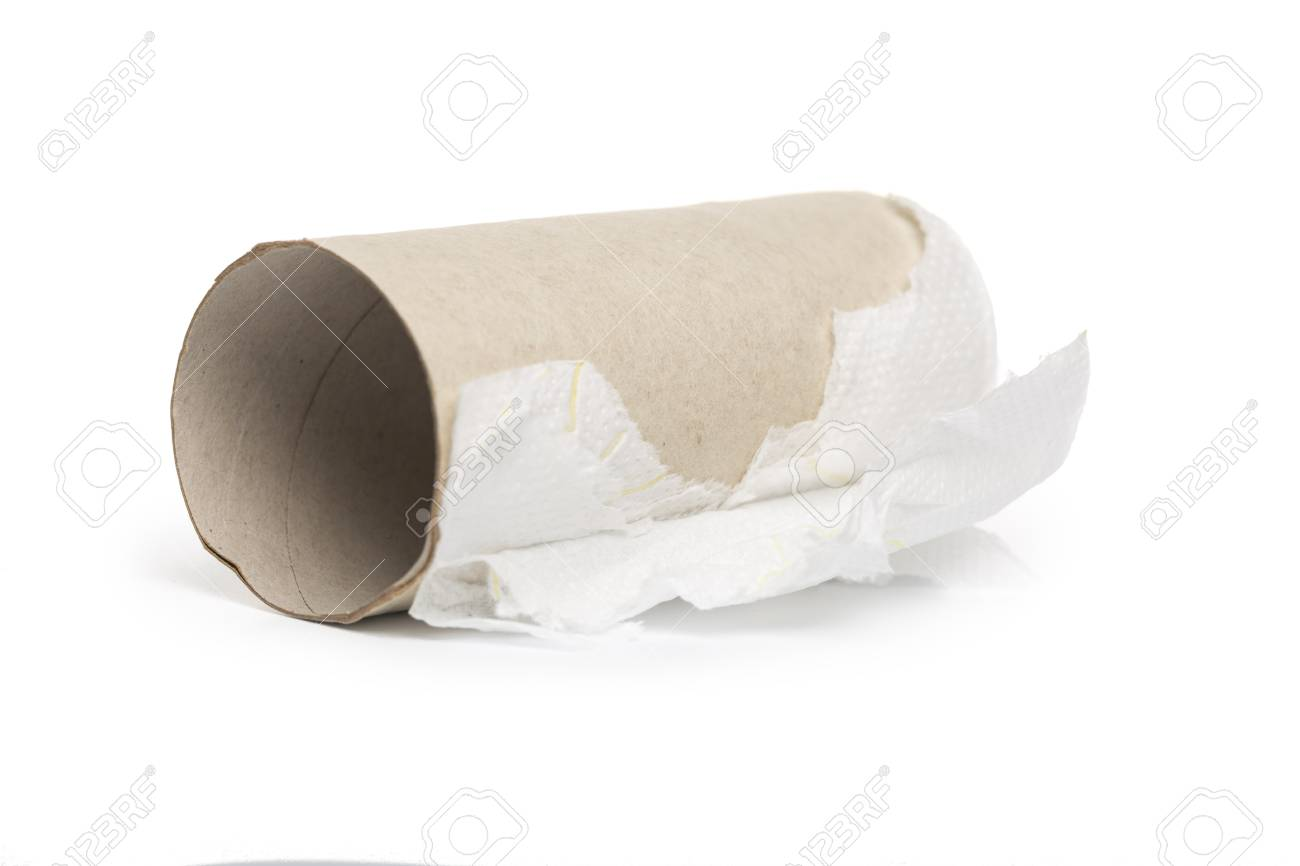 Empty Toilet Paper Roll On White Background Stock Photo, Picture ...