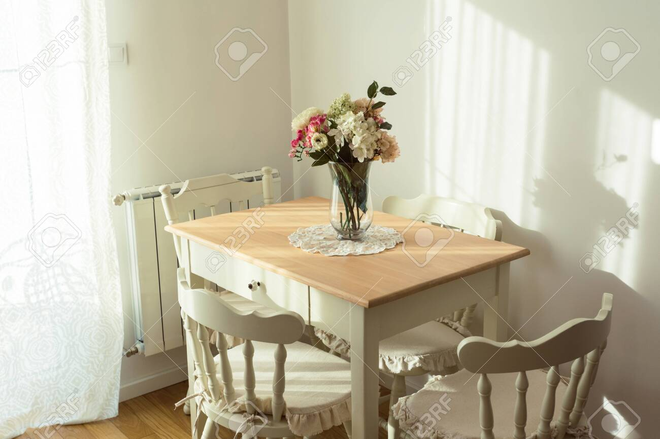 Nicely Decorated Living Lunch Room Dining Table And Some