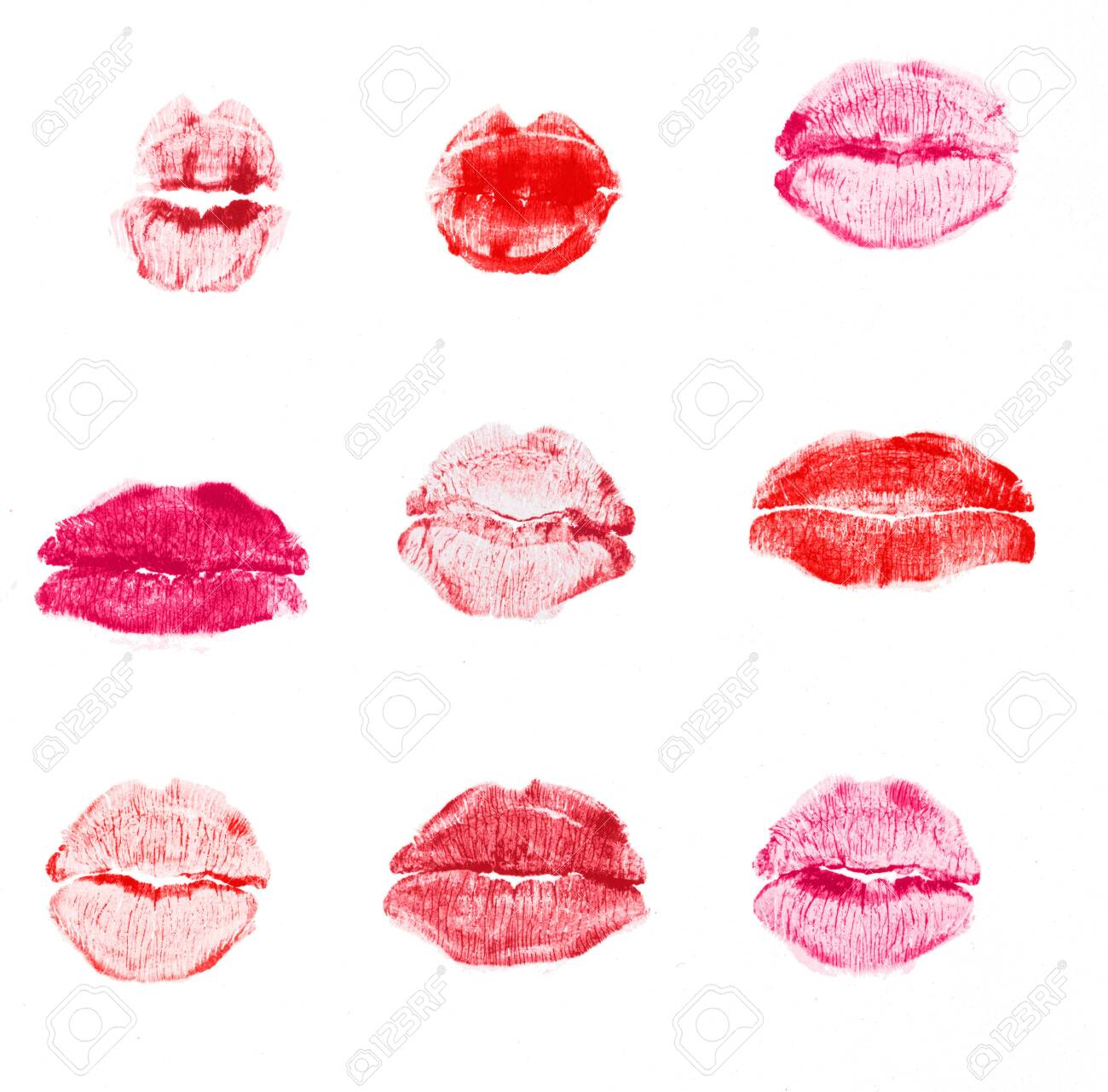 red lipstick kiss isolated on white background - 128152002
