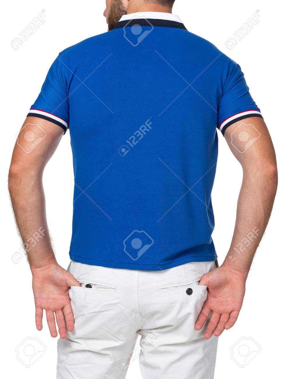 blank color t-shirt on man (back side) isolated on white background - 135106105