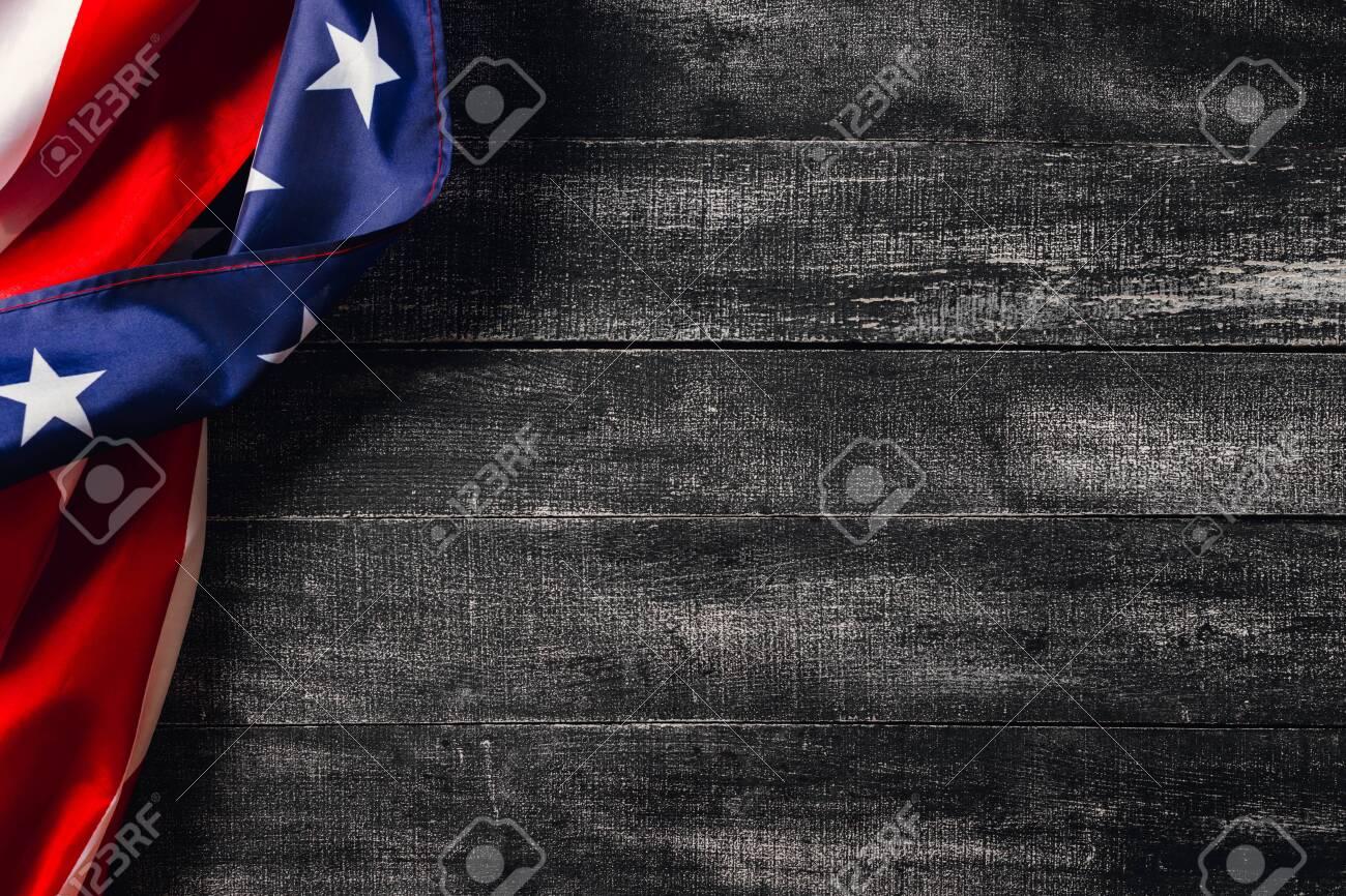 American flag on dark background. Flag Veterans Day Concept - 135106230