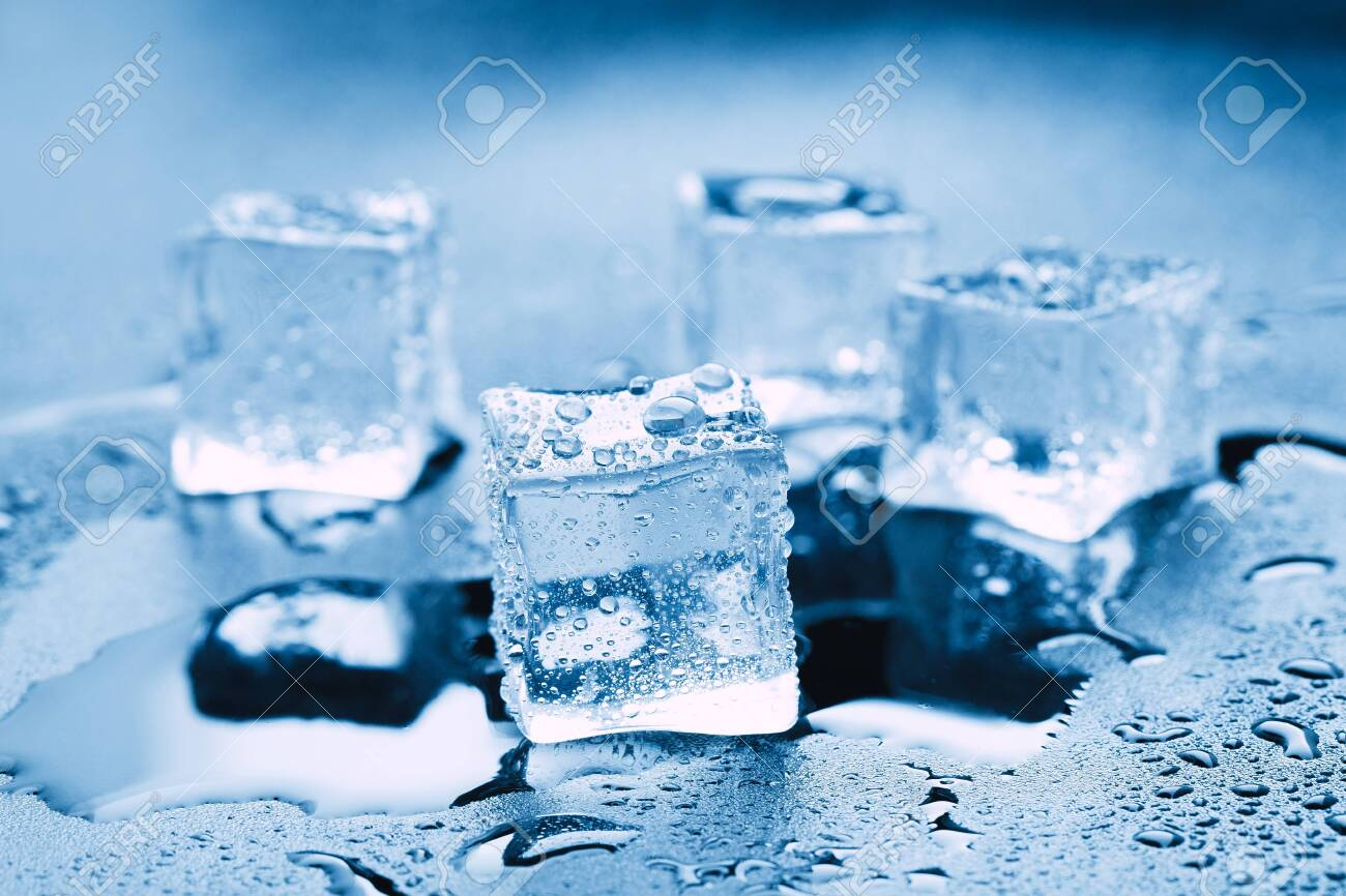 Ice cubes square with drops water clean on blue background. - 144799808